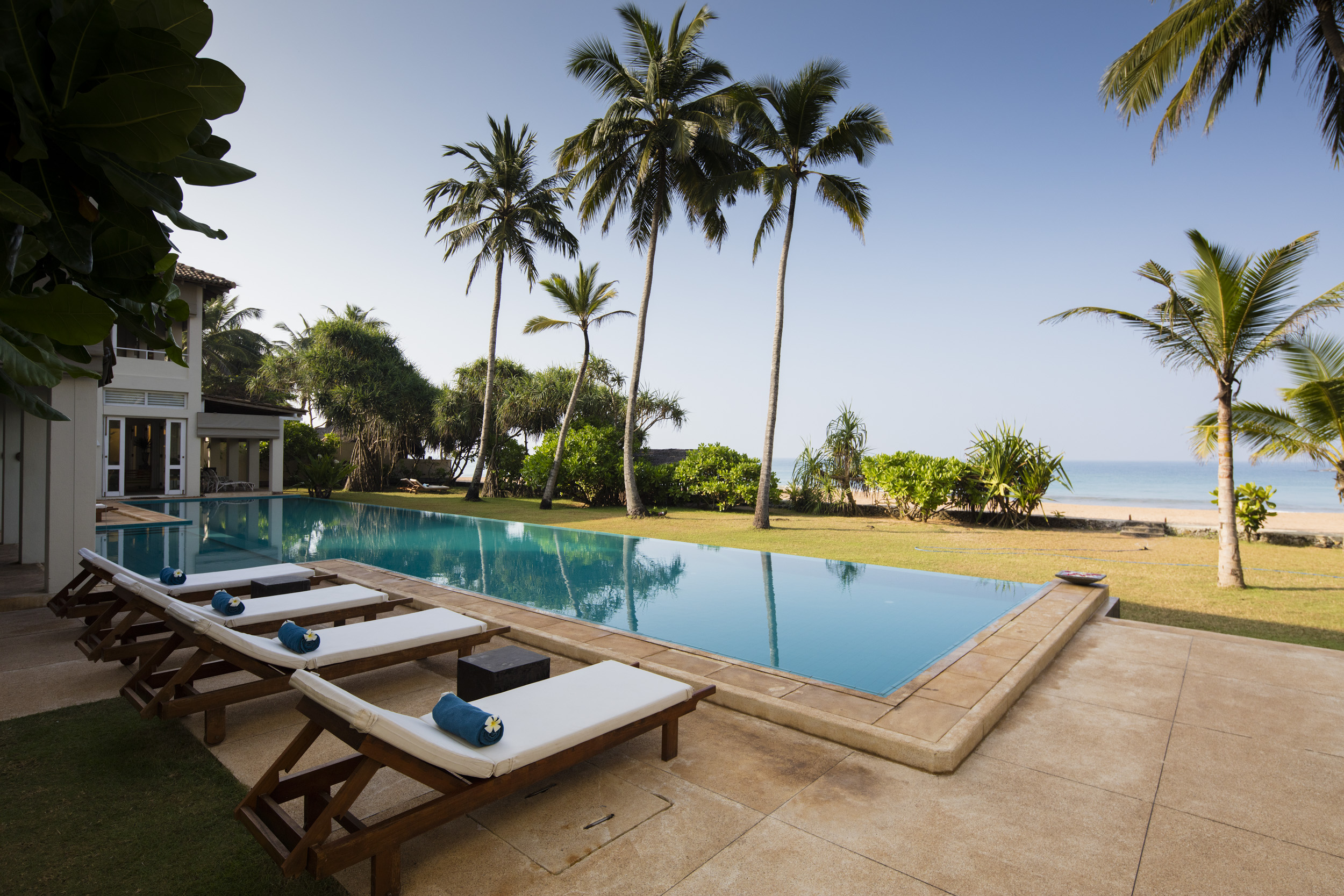 villa with pool on the beach in sri lanka