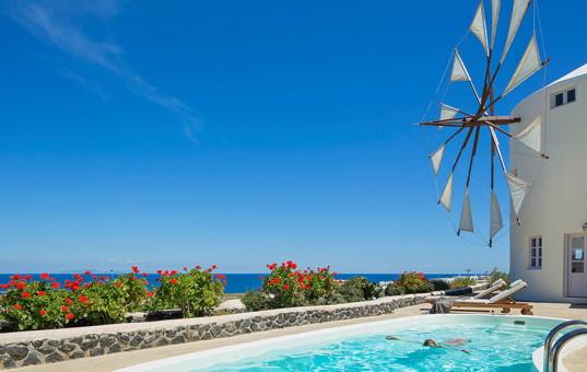Griechenland - Kykladen  - Santorini - Pori-Imerovigli - Lilac Windmill  -