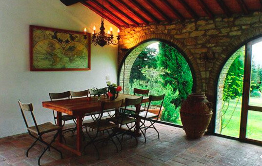 Italien - TUSCANY - Gaiole in Chianti - Moci di Sotto - dining area with nice garden view in a renovated villa in tuscany