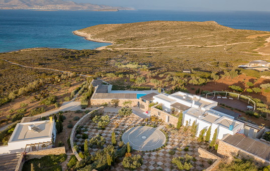Griechenland - CYCLADES - ANTIPAROS - Soros - Villa Helena 1 und 2 - house overview and seaview of vacation villa in Antiparos