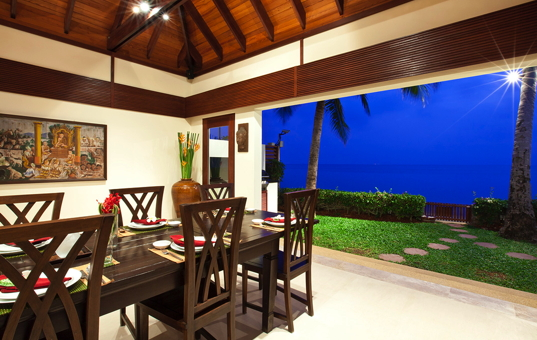 Asien - THAILAND - Koh Samui, Suratthani - Villa Champak - view from diningroom to the ocean