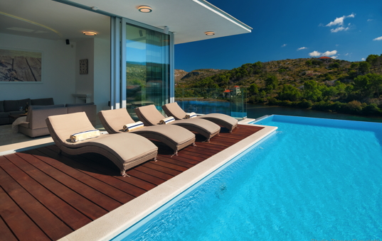 Kroatien - Bobovisca / Insel Brac - Villa Infinity - infinity pool with lovely sea view