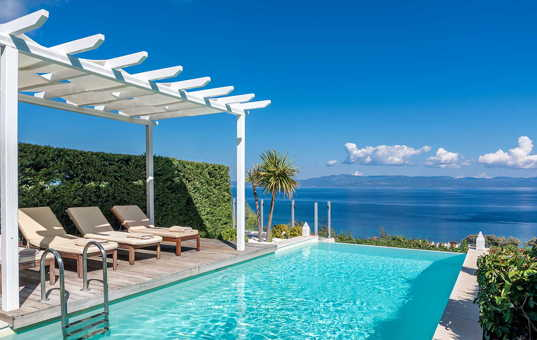 Griechenland - HALKIDIKI - Kassandra - Villa Ariadni - pooldeck with panoramic views