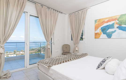 Griechenland - HALKIDIKI - Kassandra - Villa Ariadni - bedroom with seaviews