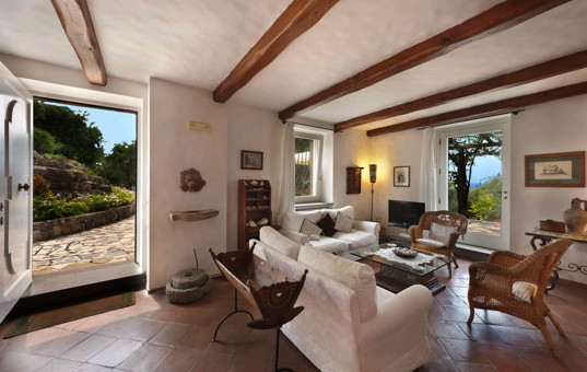 Italien - BASILICATA - Maratea - Villa Marcella - living room with view on the sea