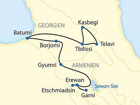 Reiseverlauf Georgien Armenien