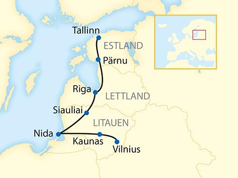 Reiseverlauf Litauen, Lewttland, Estland