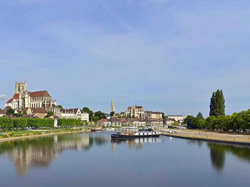 Hotel barging to Burgundy cruising by Cathedral Auxerre