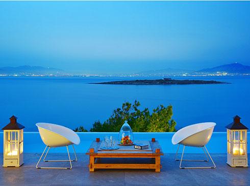 Aegina adasında villadan deniz manzarası