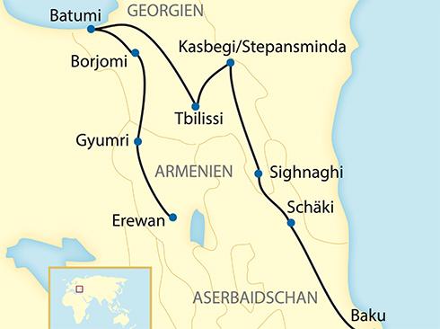 Reiseverlauf Aserbaidschan Georgien Armenien