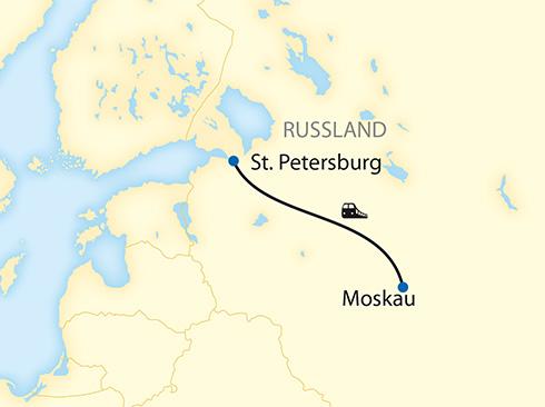 Reiseverlauf St. Petersburg Moskau