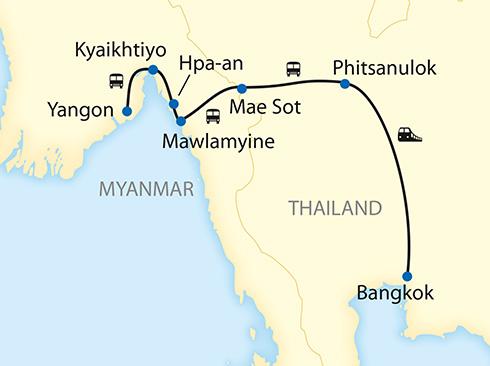 Thailand Myanmar Karte Privatreise